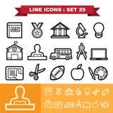 Linie Ikonen stellte 29 ein Lizenzfreies Stockfoto