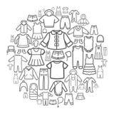 Linie Ikonen von Kinder-Kleidung Stockfotos