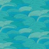 Linie Kopf gezeichnetes Seewellen-Zusammenfassungs-Muster vektor abbildung