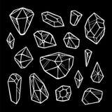 Linie Kristalle auf schwarzem Hintergrund lizenzfreie abbildung