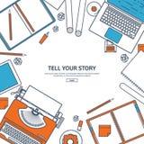 Linie Kunst Auch im corel abgehobenen Betrag Flache Schreibmaschine Laptop Erzählen Sie Ihre Geschichte autor Blogging stock abbildung