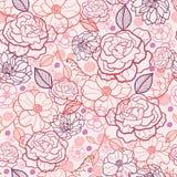 Linie Kunst blüht nahtlosen Musterhintergrund stock abbildung
