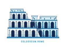 Linie Kunst Colosseum, Rom, Italien, europäischer berühmter Anblick, Amphitheater, Vektorillustration in der flachen Art vektor abbildung