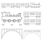 Linie Kunst des flachen Designvektorzugs mit Lastwagen Lizenzfreies Stockbild