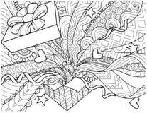 Linie Kunstdesign der openned Geschenkbox mit Konfettis verbreitete aus dem Kasten für Gestaltungselement und Erwachsenmalbuchsei Stockfotografie