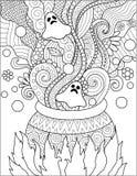 Linie Kunstdesign des kochenden Gifts des großen Kessels für Halloween-Karte, Einladung und Erwachsenmalbuchseite Auch im corel a Stockbild