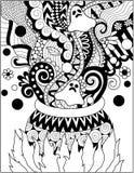 Linie Kunstdesign des kochenden Gifts des großen Kessels für Halloween-Karte, Einladung und Erwachsenmalbuchseite Auch im corel a Lizenzfreie Stockfotografie