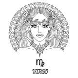 Linie Kunstdesign des schönen Mädchens, Jungfrausternzeichen für Gestaltungselement und Malbuchseite für Erwachsenen Lizenzfreie Stockbilder