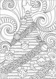 Linie Kunstdesign des Sturmblätterns und des Weihnachtsbaums für Druckdesign- und Erwachsenmalbuchseite Auch im corel abgehobenen Lizenzfreie Stockbilder