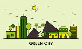Linie Kunstillustration der grünen Stadt Stockfotografie