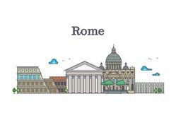 Linie Kunstrom-Architektur, Italien-Gebäude vector Illustration lizenzfreie abbildung