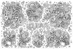Linie Kunstsatz des Feiertagsgegenstandes Stockbilder