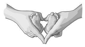 Linie Kunstskizze von Babyfüßen in den Mutterhänden lizenzfreies stockbild
