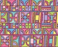 Linie, kwadraty, trójboki i łuk dekoraci projekt w wektorze, Bezszwowy deseniowy tło Obrazy Royalty Free