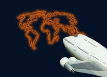 linie lotnicze mapy globalnego świata jet podróży Zdjęcia Royalty Free