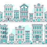 Linie nahtlose Landschaften der Kunststadt Umreißen Sie Wohnung, Vektorhintergrund des Immobilienmarkts lizenzfreie abbildung