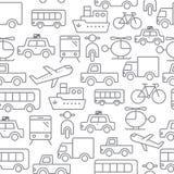 Linie nahtloses Muster der Ikonen, Transport Lizenzfreie Stockbilder