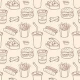 Linie nahtloses Muster mit Schnellimbiß Lizenzfreie Stockbilder