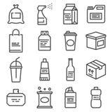 Linie Paketikonen eingestellt Tasche, Flasche, Spray, Gallone und mehr vektor abbildung