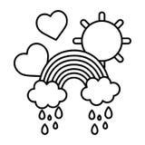 Linie Regenbogenwolken, die mit Herzen und Sonne regnen lizenzfreie abbildung