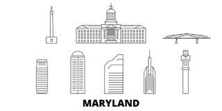 Linie Reiseskylinesatz Vereinigter Staaten, Maryland Entwurfsstadt-Vektorillustration Vereinigter Staaten, Maryland, Symbol lizenzfreie abbildung
