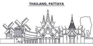 Linie Skylinevektorillustration Thailands, Pattaya Thailand, lineares Stadtbild Pattayas mit berühmten Marksteinen, Stadt vektor abbildung