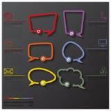 Linie Sprache-Blasen-Kommunikations-Verbindungs-Geschäft Infographic Lizenzfreies Stockbild