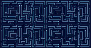 Linie Stromkreiszusammenfassungsmustertechnologiestromvektor-Hintergrunddesign Lizenzfreie Stockfotografie