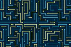 Linie Stromkreiszusammenfassungsmustertechnologiestromvektor-Hintergrunddesign Stockfotos