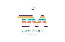 Linie TM t m streift Pastellfarbalphabetbuchstabelogo-Ikone templ lizenzfreie abbildung