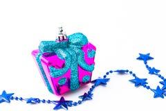Linie und Geschenk des blauen Sternes Lizenzfreies Stockfoto