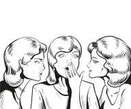Linie Vektor-Illustration Frau, die Klatsch oder Geheimnis zu ihrem Freund flüstert vektor abbildung