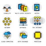 Linie Vektordesign des Internets, des Computernetzwerks u. des technolog Lizenzfreies Stockfoto
