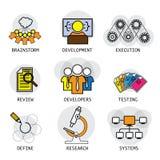 Linie Vektordesign des Software-Industrieentwicklungsprozesses u. Stockbild