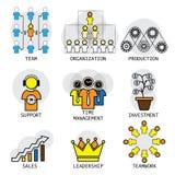 Linie Vektordesign von Büro Struktur, Führung, Team u. teamw Stockbilder