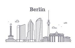 Linie Vektorlandschaft, panoramische Häuser Deutschlands Berlin der Stadt stock abbildung