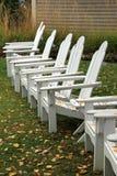 Linie von Adirondack-Stühlen, die mit Fall bedeckt werden, verlässt Lizenzfreie Stockbilder