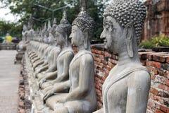 Linie von Buddha-Bildern unter den alten Tempeln von ayuthaya in Thailand lizenzfreie stockbilder