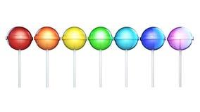 Linie von hell farbigen Lutschern Süßigkeiten auf dem Stock in Folge lokalisiert auf weißem Hintergrund Abbildung 3D Stockfoto