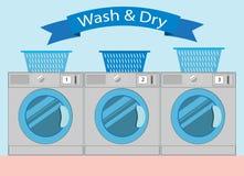 Linie von industriellen Wäschereimaschinen in der flachen Art, Waschautomat wa Stockfotografie