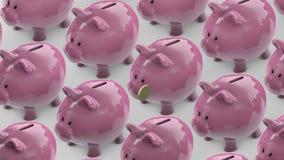 Linie von Sparschweinen geht Sparschwein voll von Münzen Sparschweinfördererschleife stock abbildung