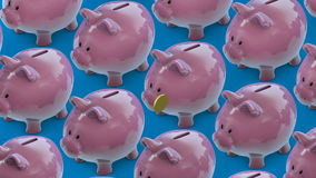 Linie von Sparschweinen geht Sparschwein voll von Münzen Sparschweinfördererschleife lizenzfreie abbildung