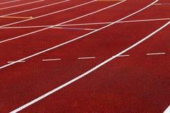 Linien auf einer athletischen Bahn Lizenzfreie Stockbilder