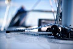 Linien auf einer Segeljacht Lizenzfreies Stockbild
