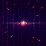 Linien in der Perspektive mit hellen Lichtern, Partikeln und glühenden Punkten Lizenzfreie Stockfotografie