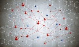 Linien und Punkte als Vernetzungsidee gezeichnet auf Zementhintergrund Lizenzfreie Stockfotos