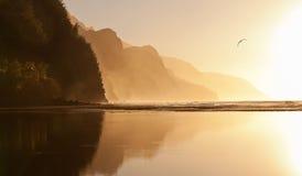 linii brzegowej mglisty na pali zmierzch Zdjęcia Royalty Free