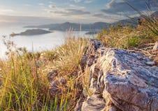 linii brzegowej Montenegro zmierzch Zdjęcie Royalty Free