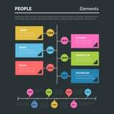 Linii czasu dziejowy płaski infographics: rok czas linii Obrazy Royalty Free