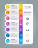 Linii czasu infographic biznesowy pojęcie z 7 opcjami Zdjęcie Stock